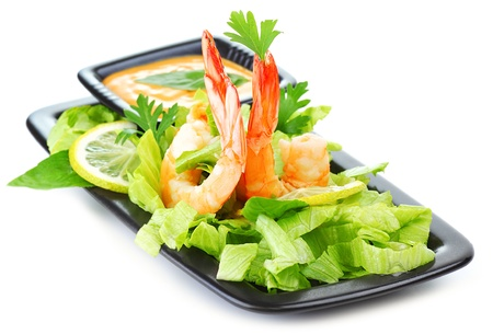 starter: Green salad with shrimps isolated on white background, healthy eating concept