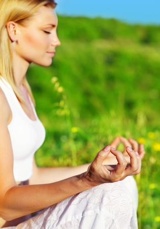 Yoga meditation outdoor, healthy female in peace, soul &mind zen balance concept photo