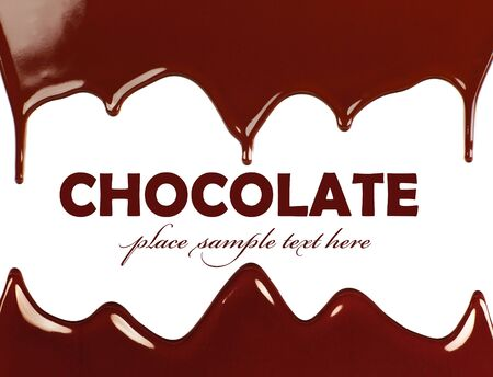 Dark sweet tasty chocolate frame, liquid dripping, brown background with text space photo