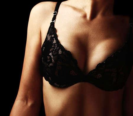 big breast: Beautiful female body?, healthy slim shape, beauty concept
