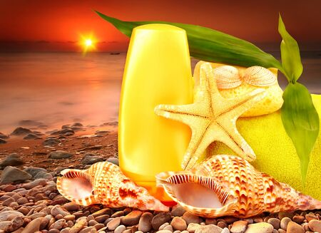 Beach items over sea sunset conceptual image of summertime vacation & holidays Stock Photo - 9763231