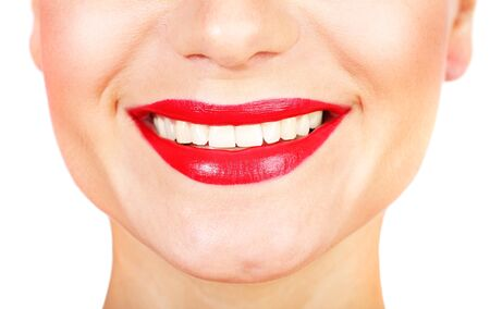 bright lipstick: Perfect smile with white healthy teeth and red lips, dental care concept
