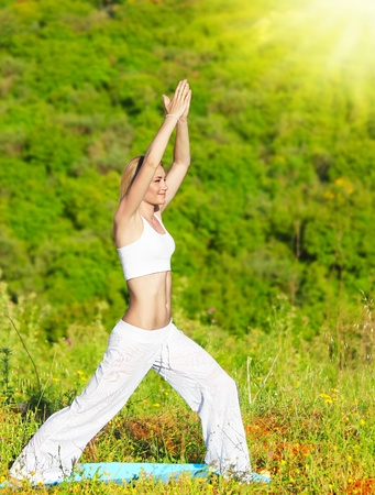 Healthy yoga woman exercising outdoor, fitness & sport lifestyle concept photo