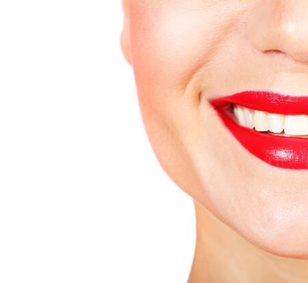Perfect smile with white healthy teeth and red lips, dental care concept photo