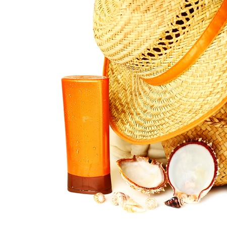 Beach items isolated on white background conceptual image of summertime vacation Stock Photo - 9824592