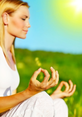 Yoga meditation outdoor, healthy female in peace, soul and mind zen balance concept photo