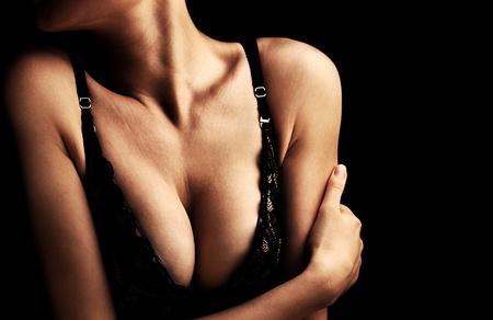 seni: Corpo femmina sexy bella, seno sano, bellezza e concetto di assistenza sanitaria