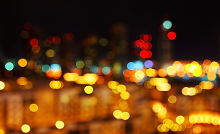 city lights: Abstract bokeh night city lights background Stock Photo