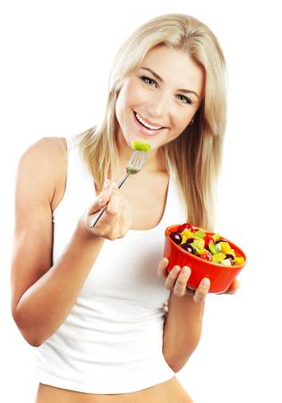 Pretty girl eating fruits, healthy fresh breakfast, dieting and health care concept photo