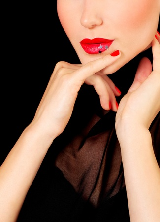 chin on hands: Beautiful glamour female portrait, fashionable stylish makeup decorated with stars Stock Photo