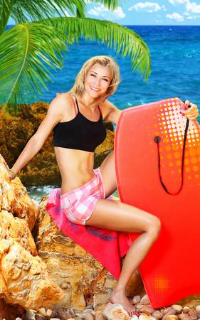 Beautiful sporty female holding body board, outdoor beach portrait, water sport, healthy lifestyle concept photo