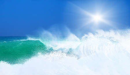 Paradise beach, beautiful nature, seascape with high surfing waves, summertime vacation concept