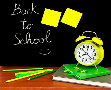 Back to school concept, colorful accessories in the classroom Stock Photo - 10082400