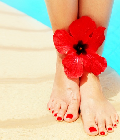 human toe: Beautiful female legs on the pool conceptual image of vacation and spa