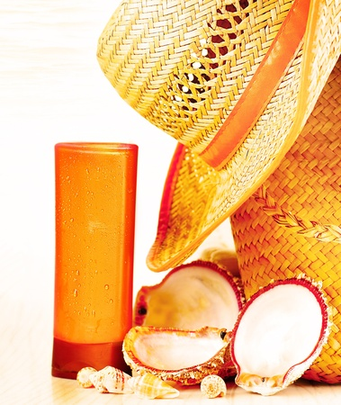 spa stuff: Beach accessories, conceptual image of summertime vacation & travel