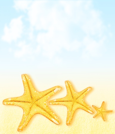 Summertime vacation abstract background, starfish border over sky & sand, collage, beach lifestyle concept photo