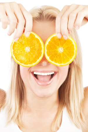 Funny girl portrait, holding oranges over eyes, conceptual image of healthy eating, dieting and skincare photo