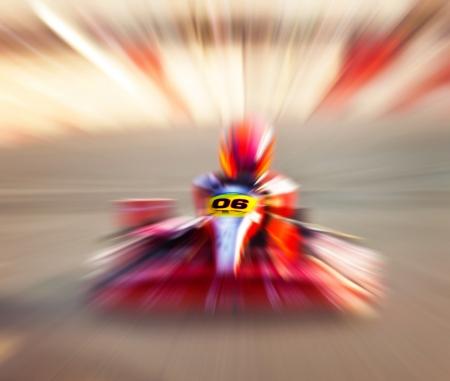 Abstract red slow motion speed background, selective focus on race kart, karting competition, extreme sport