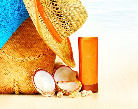spa stuff: Summertime holidays background, beach objects on the sand, fun of travel concept