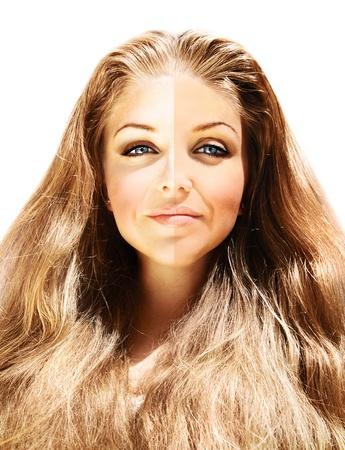 Image conceptuelle du tonus de la peau, de beau visage féminin près avec effet de peau, isolé sur fond blanc