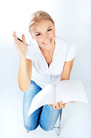 hands high: Smart pretty college student, girl holding blank notepad, study, education, knowledge, back to school concept