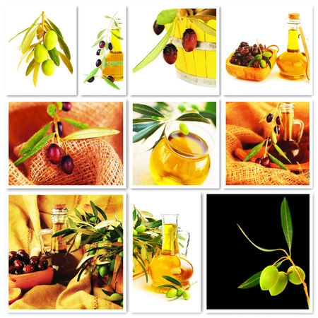 Olives collage, fresh ripe green and black olives with homemade healthy olive oil, nutrition and harvest concept