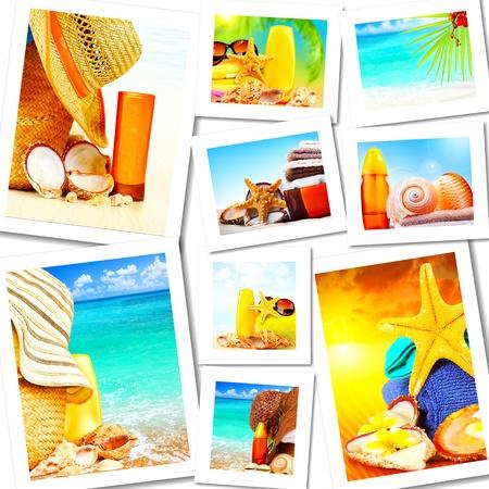 collage spa: Diversi�n de verano collage de concepto, soleado colorido fondo abstracto con muchas im�genes de viajes y Turismo Foto de archivo