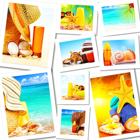sunscreen: Summer fun concept collage, sunny colorful abstract background with many travel and tourism images