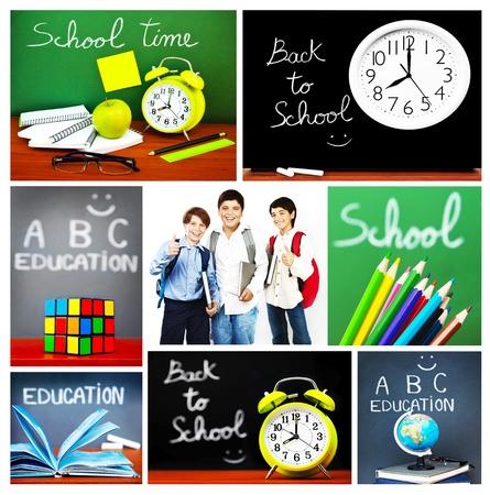personas de espalda: Espalda collage de concepto de escuela, colección de imágenes relacionadas con la educación, accesorios coloridos y colegiales felices