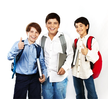 Happy schoolboys with thumbs up, back to school, boys holding books and smiling, isolated on white background, teenage education concept  photo