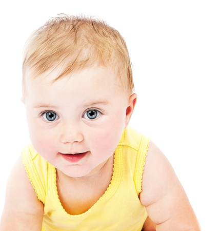 cute blonde: Cute baby face portrait isolated on white background Stock Photo