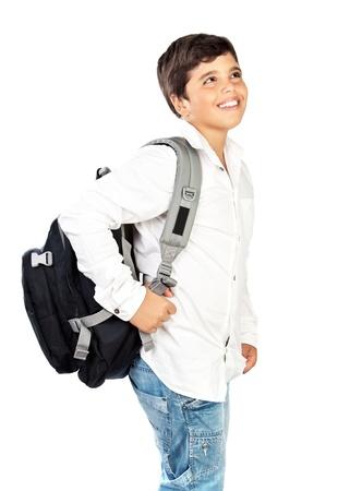 preteen boy: Joyeux petit �colier sourire, gar�on pr�adolescence belle isol� sur fond blanc, les enfants de retour au concept d'�cole Banque d'images
