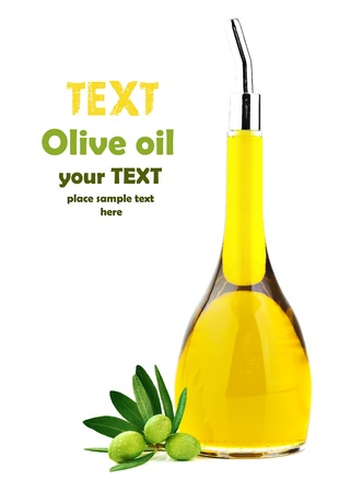 Homemade healthy olive oil, fresh green olives and bottle of oil isolated on white background, harvest and organic food concept Stock Photo - 10585616