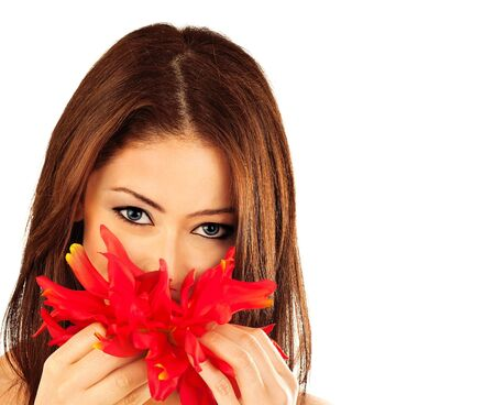 Beautiful young female portrait, hand holding a red flower, isolated on white background with white text space, beauty and spa concept photo