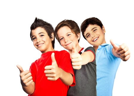thumbs up group: Happy boys, teenagers smiling, thumbs up, portrait of best friends isolated on white background, cute kids having fun