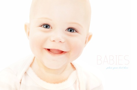 Happy baby laughing, closeup on cute little child face, healthy kid portrait isolated on white background, happiness concept