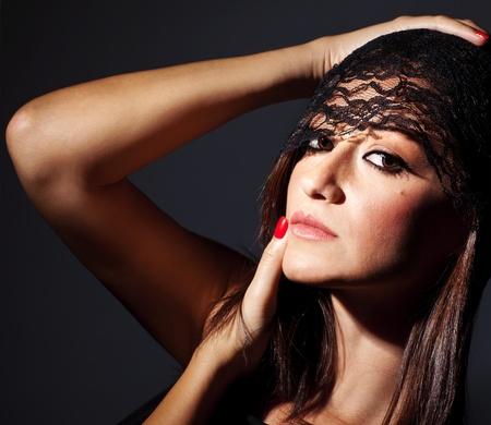 Beautiful glamor female portrait, sexy luxury beauty, gorgeous girl model, studio shot over dark isolated background Stock Photo - 10683179