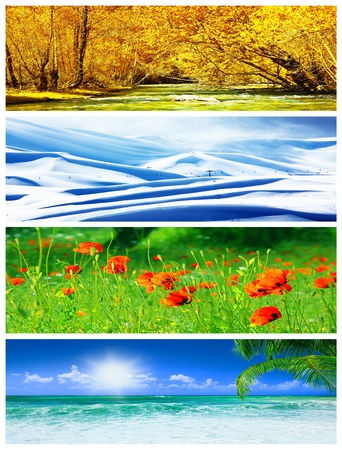 spring season: Four seasons collage, panoramic images of beautiful natural landscapes at different time of the year, autumn, winter, sprig and summer weather, planet earth life cycle concept