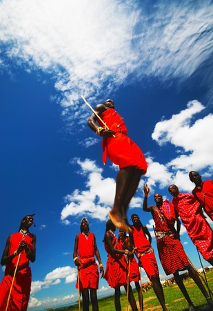 masai: AFRICA, KENYA, MASAI MARA, NOVEMBER 12: Masai warriors dancing traditional jumps as cultural ceremony, review of daily life of local people, near to Masai Mara National Park Reserve, November 12, 2008 Kenya