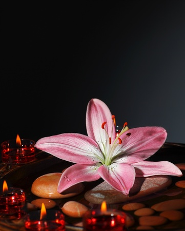 Zen atmosphere at spa salon, warm candles light at dark room, the spa stones in water with fresh pink lily, relaxation, meditation and beauty concept