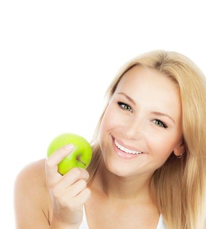 Happy Woman abnehmen, hübsche Mädchen essen Apple, weibliche Hand, halten, grün Obst, Gesundheit, nahrhafte Bio-Lebensmittel, isoliert auf weißem Hintergrund mit text
