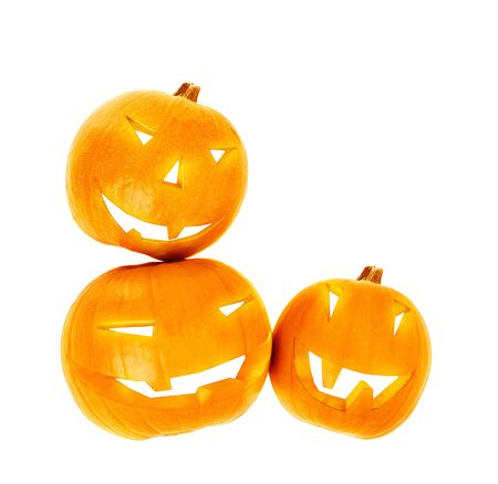 Halloween pumpkin border isolated on white background, traditional spooky jack-o-lantern, candles inside of gourd head, american autumn holiday photo