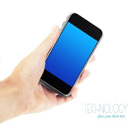 phone button: Vrouwelijke hand houden van mobiele telefoon, zakelijke vrouw met behulp van mobiele, geïsoleerd op witte achtergrond, digitale technologie en communicatie-industrie