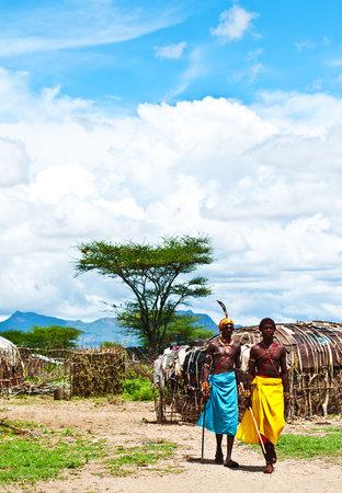 SAMBURU, KENYA - NOVEMBER 8: portrait of unidentified African tribal man, walking in the village on November 8, 2008 in tribal village near Samburu National Park Reserve, Kenya Stock Photo - 10820491