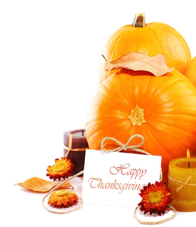 Thanksgiving holiday, pumpkin border still life decoration with candles isolated over white background, greeting card with text space, harvest concept Stock Photo - 10942192