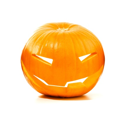 scary pumpkin: Halloween scary pumpkin isolated over white background, traditional spooky jack-o-lantern, holiday decoration  Stock Photo