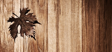 Autumn leaf  border over natural wood background, old dry leaf shape, nature at fall Stock Photo - 10942375