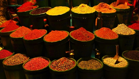 Diversity of spices, variety of different kinds of spice, colorful background photo