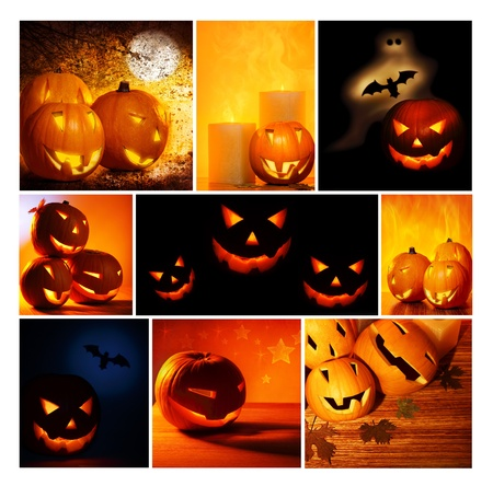 Halloween glowing pumpkins collage, holiday background, curved decoration creative design, traditional jack o lantern candles Stock Photo - 10994019