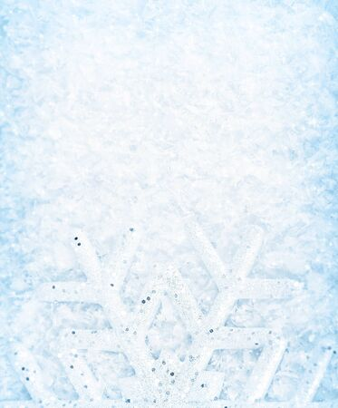 snowy background: Christmas background, snowflake border, cold white blue snow pattern, winter holidays greeting card Stock Photo